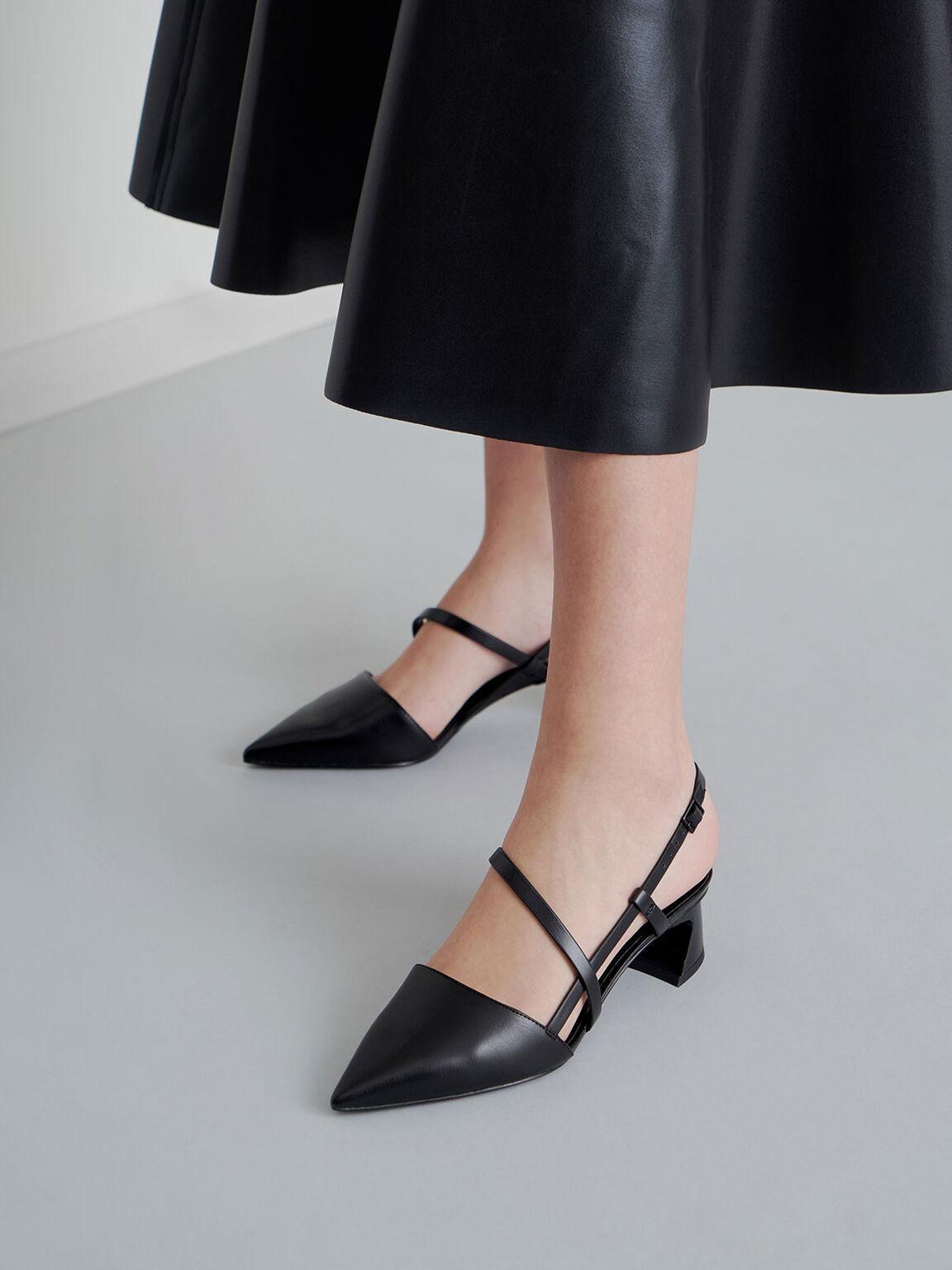 Strappy Trapeze Heel Court Shoes, Black, hi-res