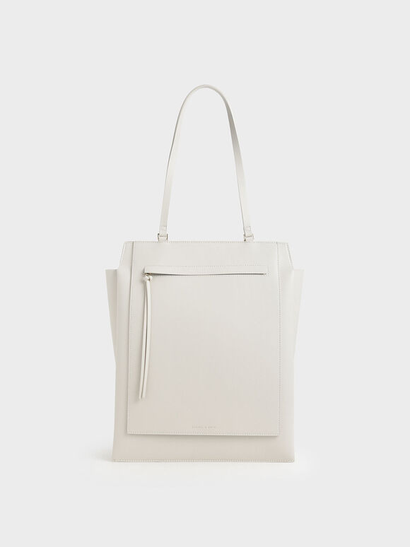 Large Trapeze Tote, Cream, hi-res