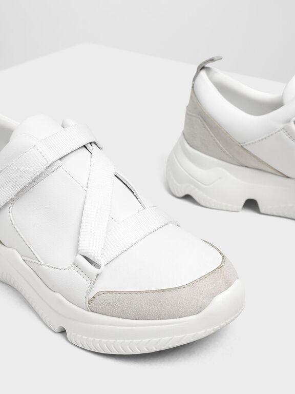 Velcro Slip-On Sneakers, White, hi-res