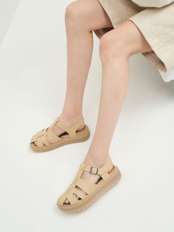 懷舊厚底涼鞋, 沙黃色, hi-res