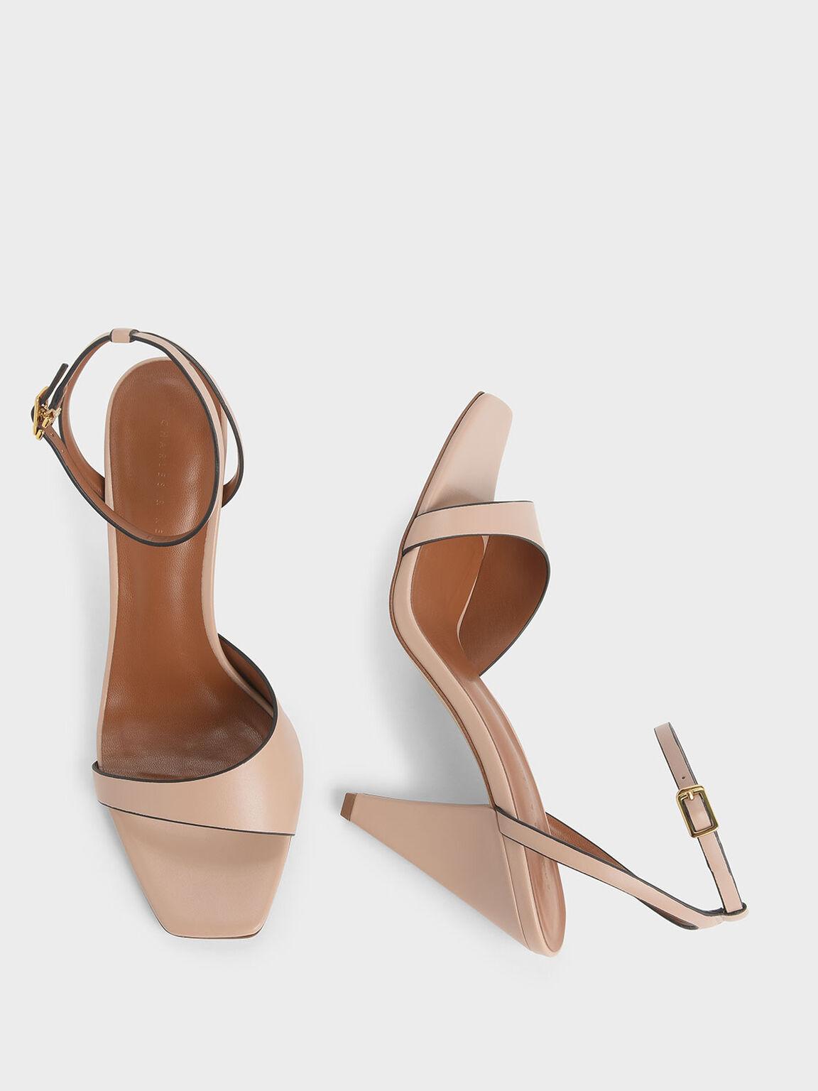 Asymmetric Strap Cone Heel Sandals, Nude, hi-res