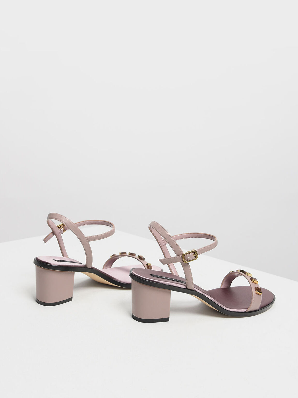 Embellished Heeled Sandals, Nude, hi-res