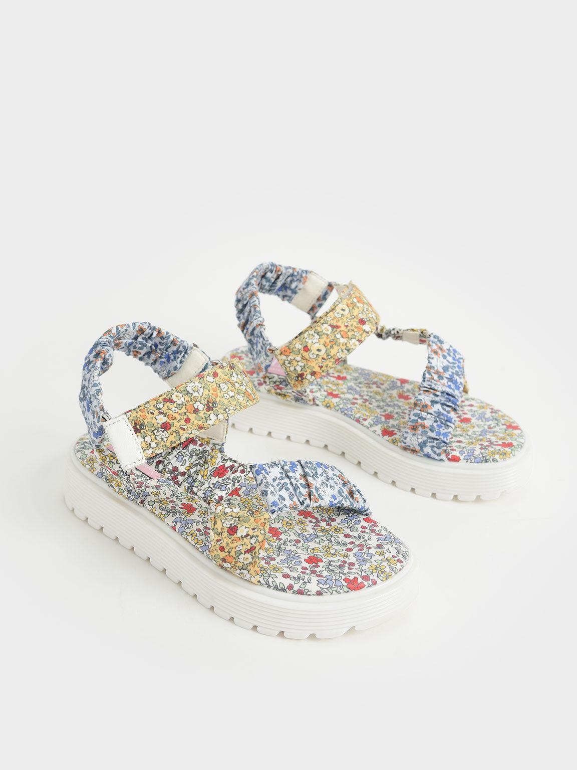 Girls' Printed Satin Sport Sandals, Multi, hi-res