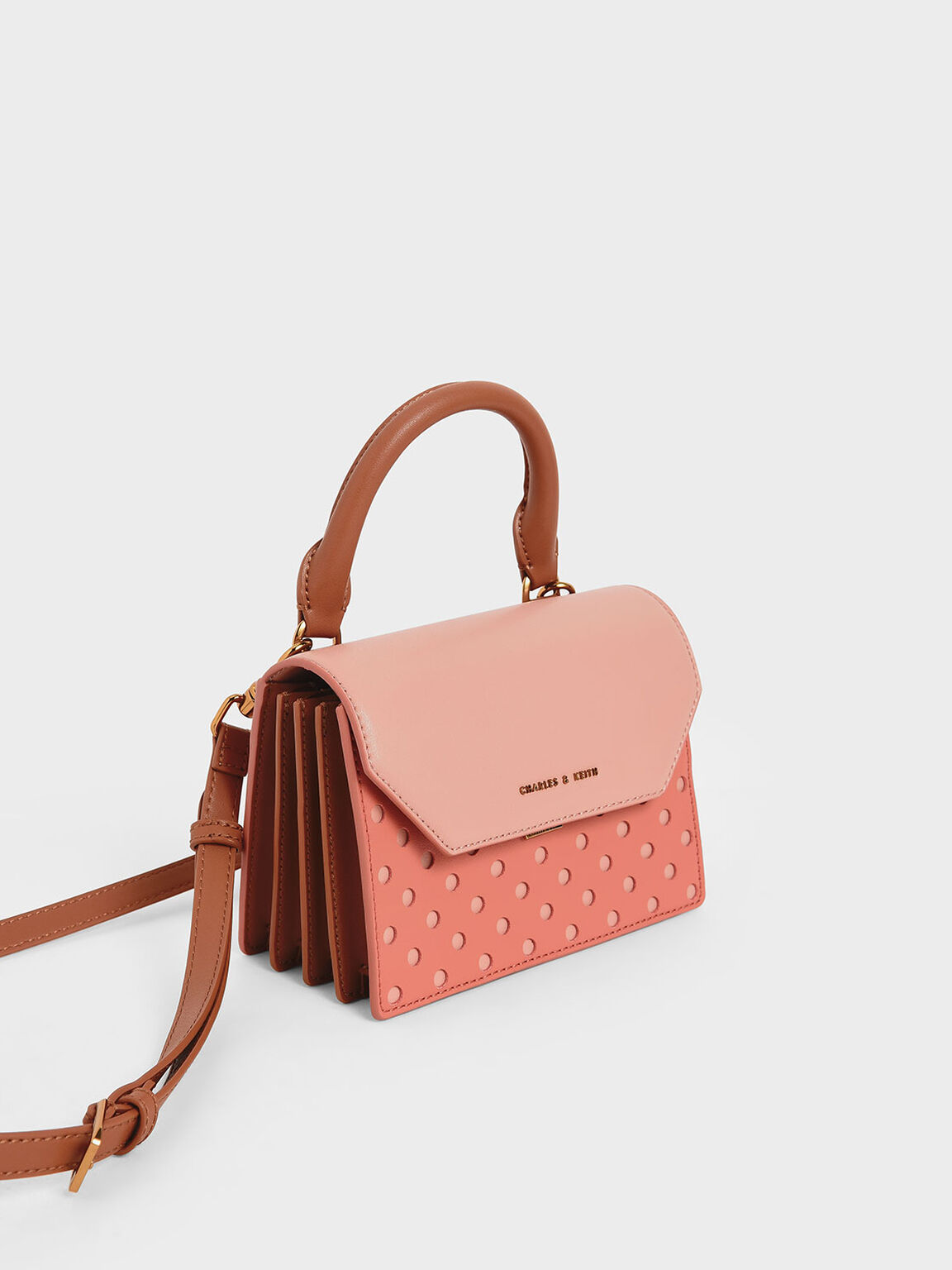 Laser-Cut Small Top Handle Bag, Brick, hi-res