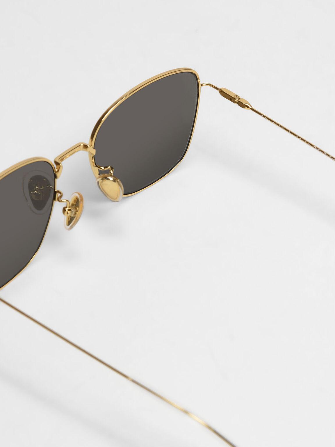 Classic Rectangular Sunglasses, Silver, hi-res