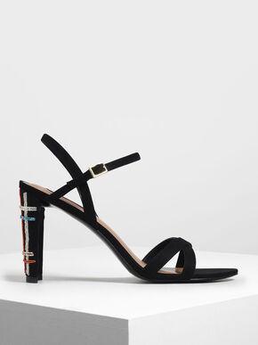 Embellished Curved Block Heel Strappy Sandals, Black