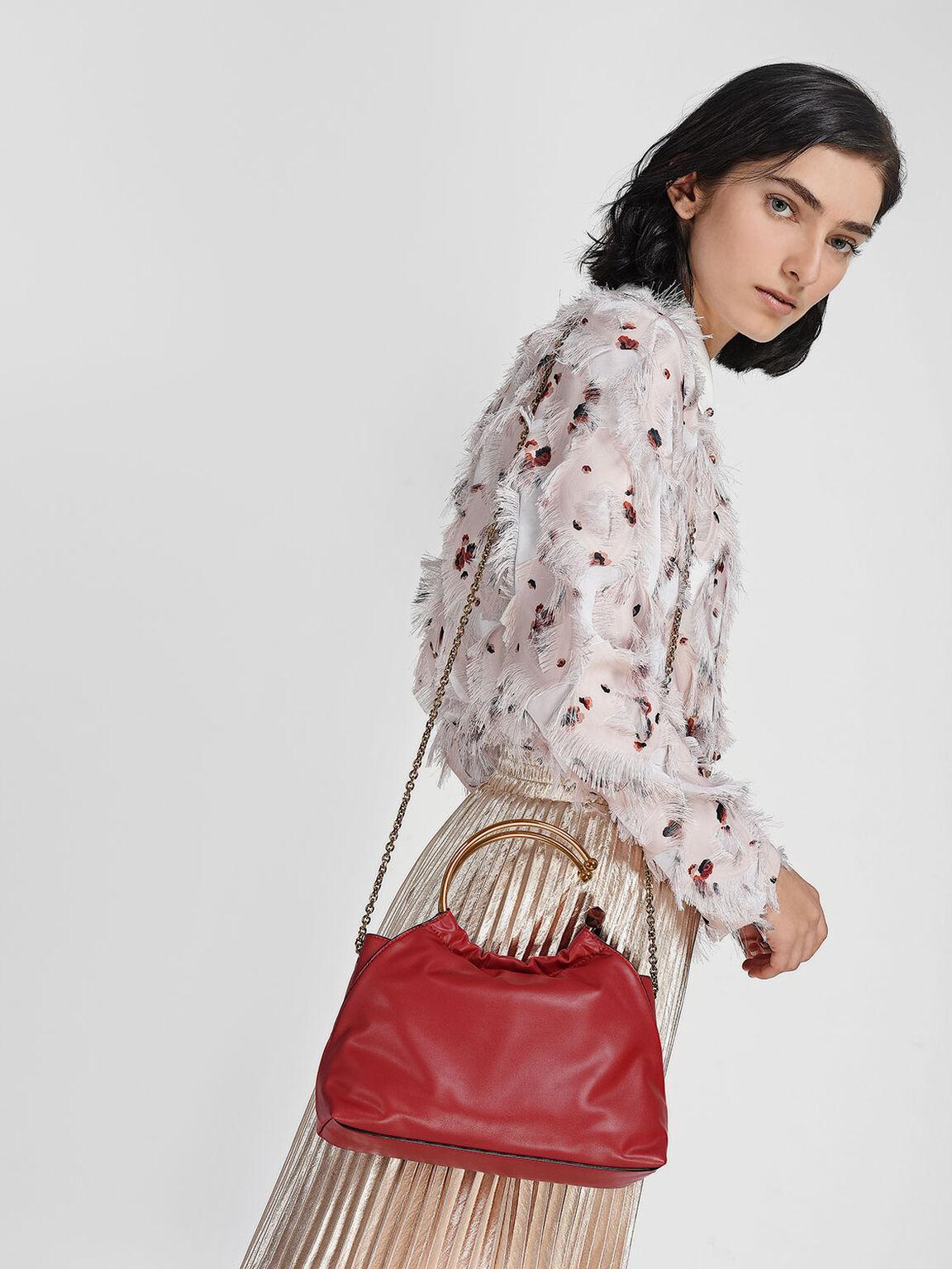 Circular Handle Bag, Red, hi-res