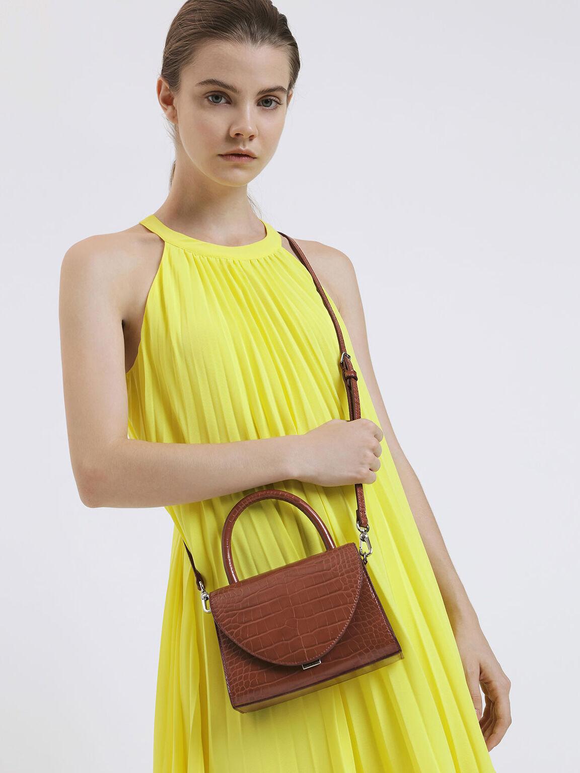 Croc-Effect Structured Top Handle Bag, Burgundy, hi-res