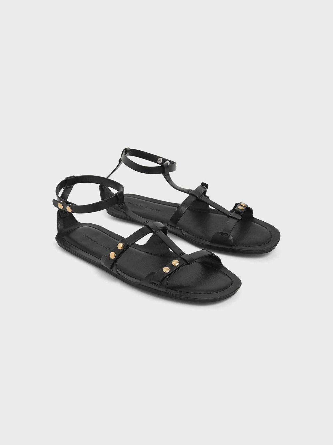 Studded Gladiator Sandals, Black, hi-res