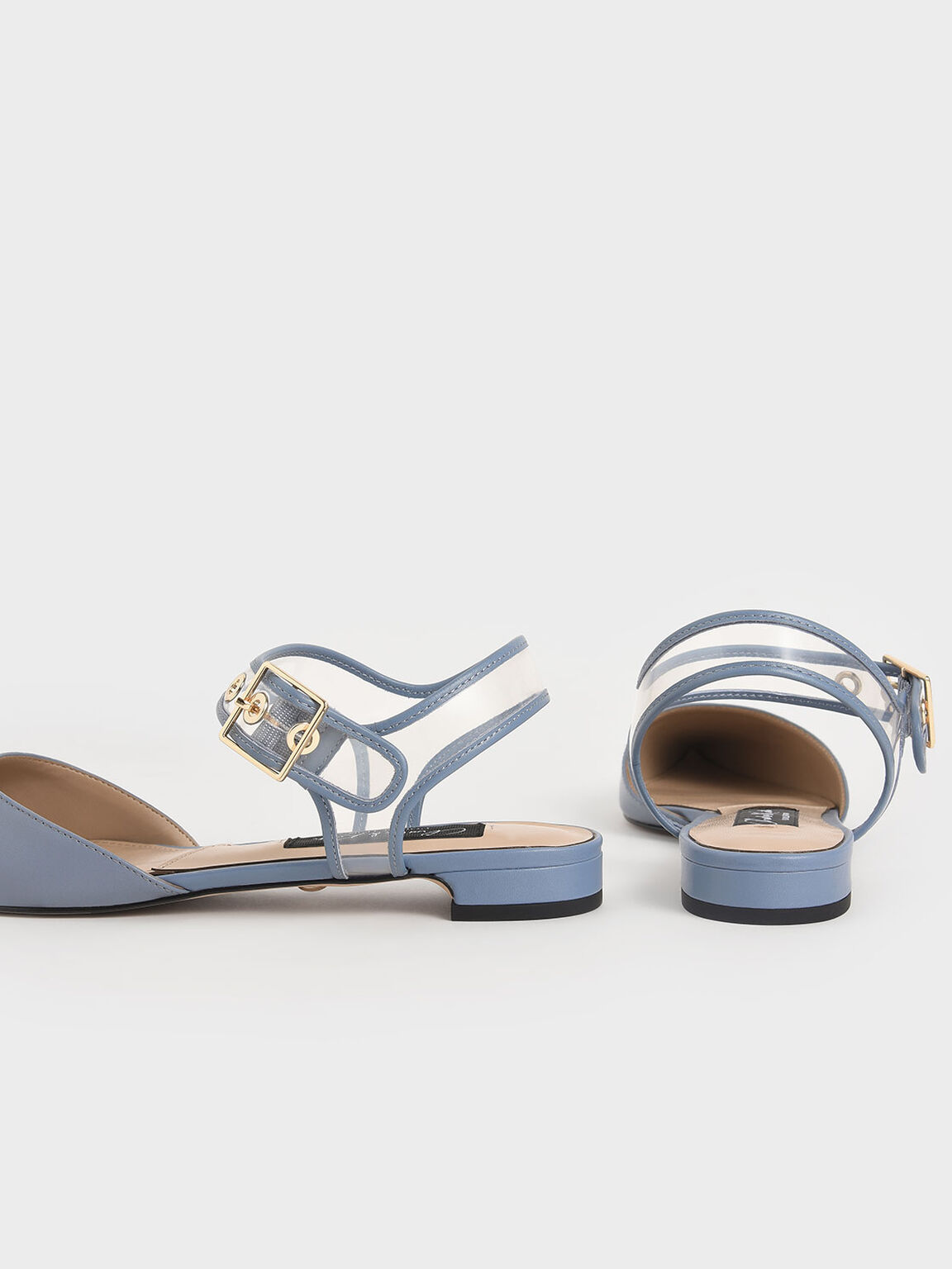 Leather Clear-Strap Flat Pumps, Blue, hi-res