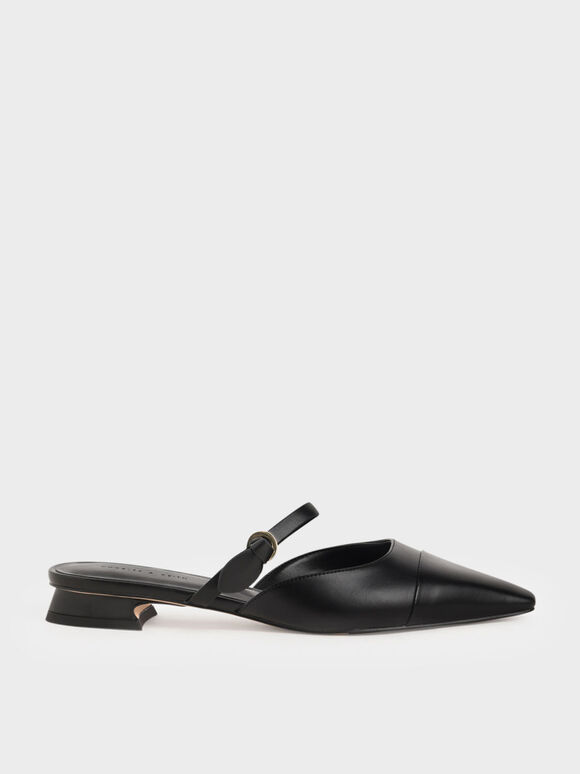 Mary Jane Strap Flat Mules, Black, hi-res