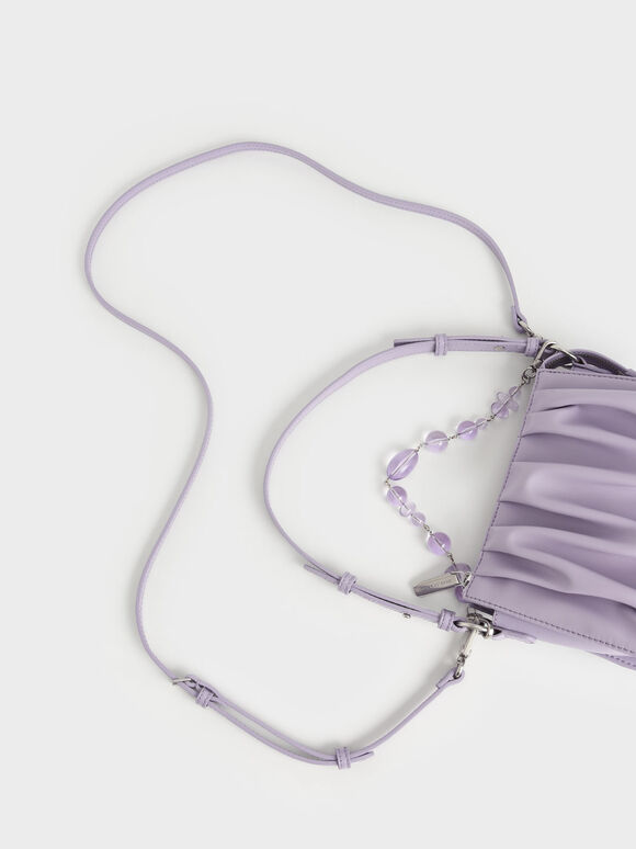 Beaded Strap Ruched Shoulder Bag, Lilac, hi-res