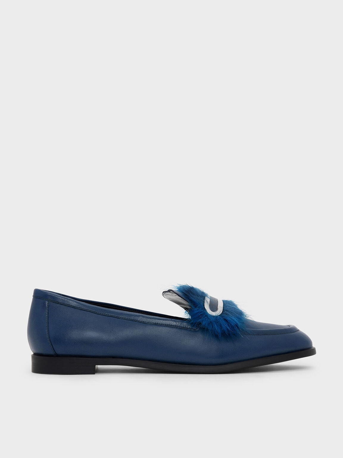 Furry Detail Leather Penny Loafers, Dark Blue, hi-res