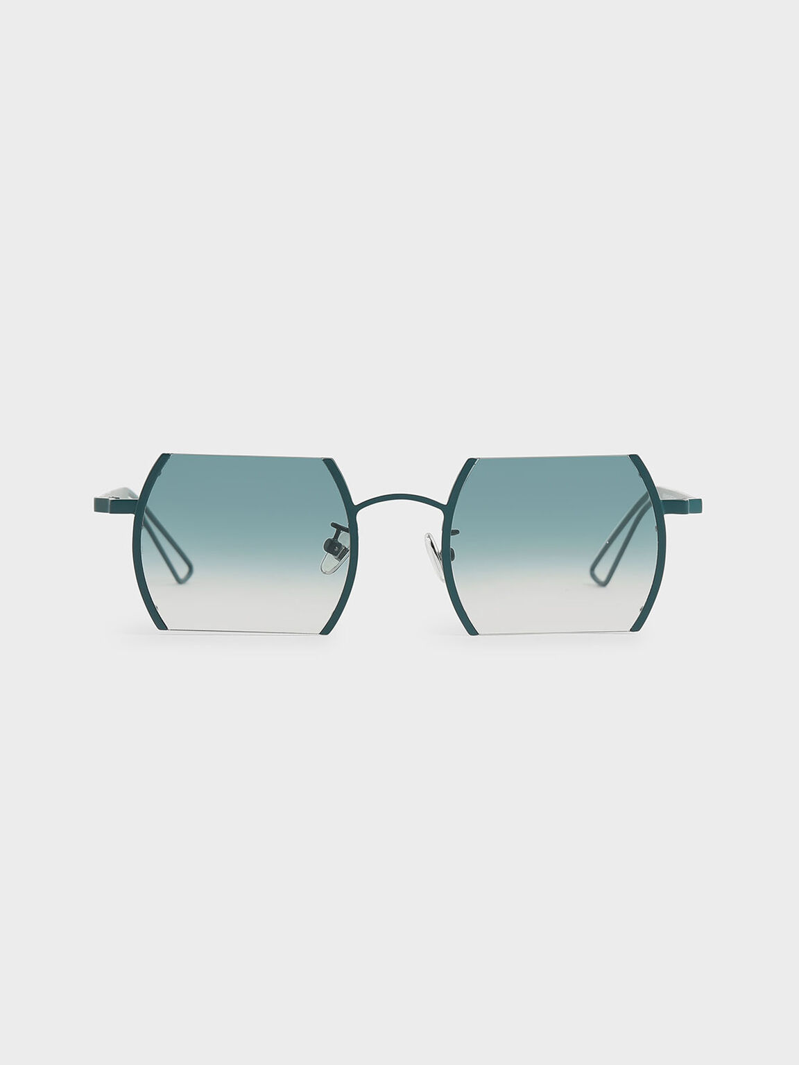 Cut-Off Frame Round Sunglasses, Blue, hi-res