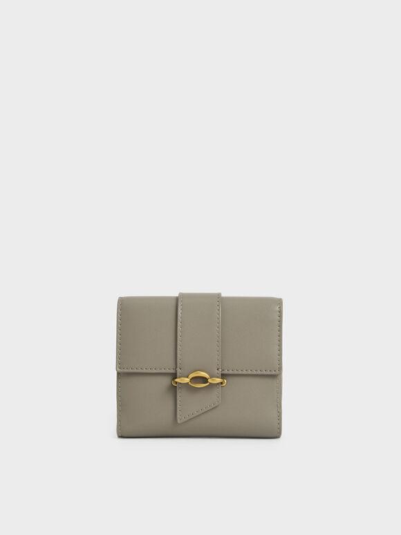Belt Buckle Strap Short Wallet, Taupe, hi-res