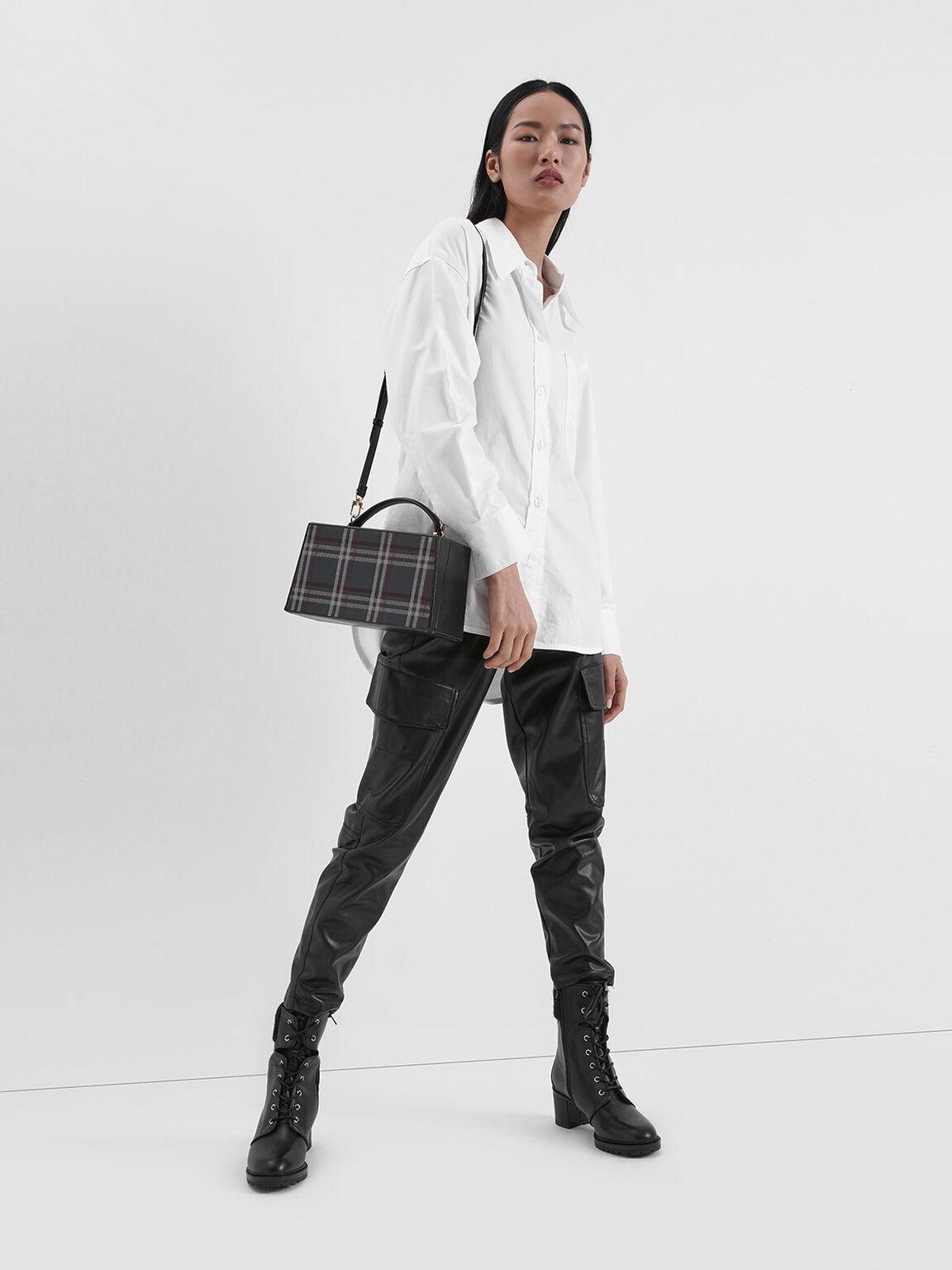 Check Print Rectangular Top Handle Bag, Multi, hi-res