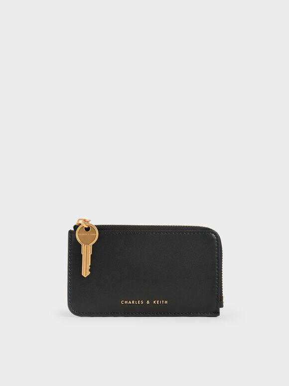 Zip-Around Mini Wallet, Black, hi-res