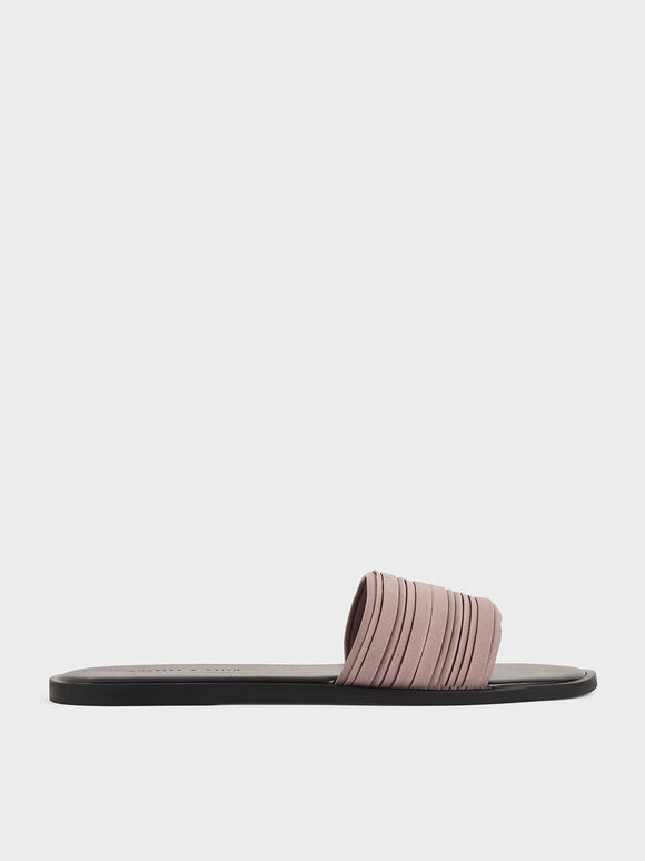 Pleated Slide Sandals, Mauve, hi-res