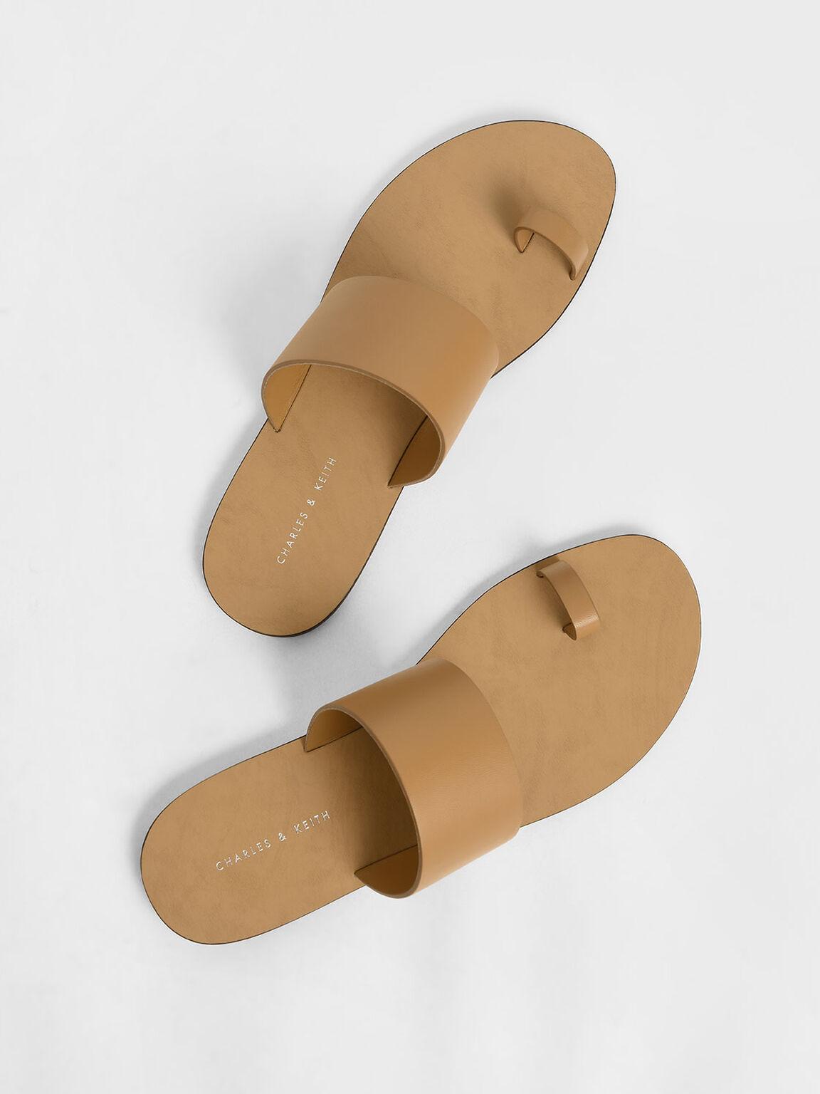 Toe Loop Slide Sandals, Brown, hi-res