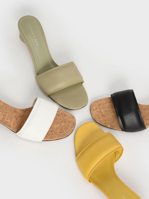 Puffy Cylindrical Heel Mules, White, hi-res