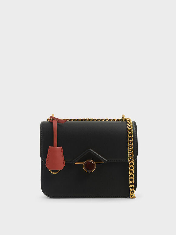 Stone Embellished Crossbody Bag, Black, hi-res