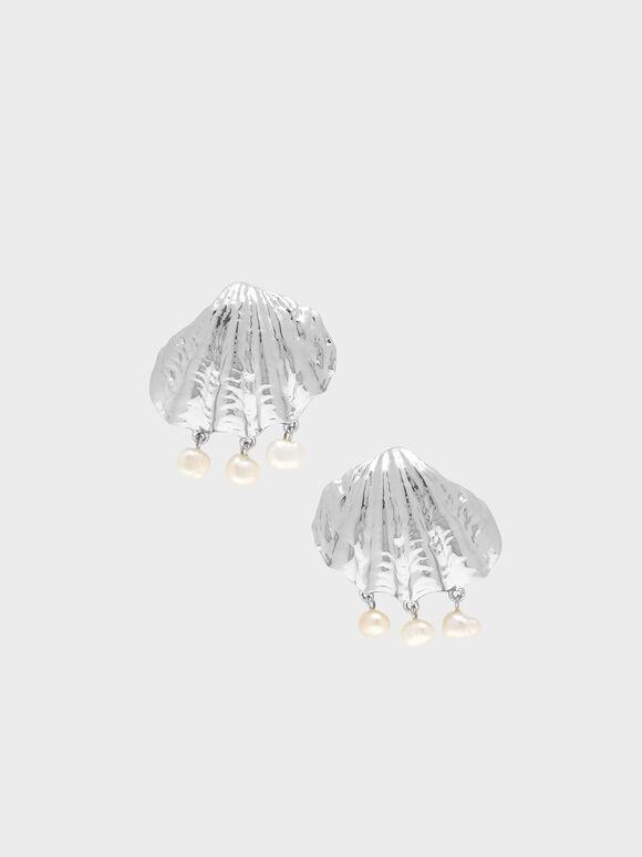 Seashell Stud Earrings, Silver, hi-res