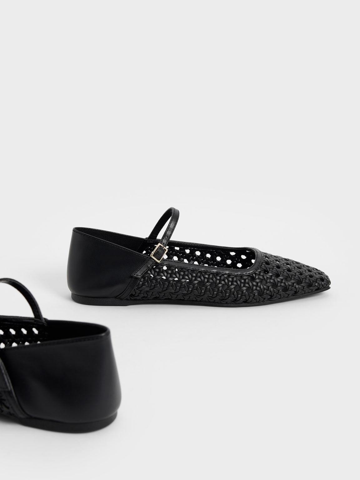Weave Detail Ballerinas, Black, hi-res