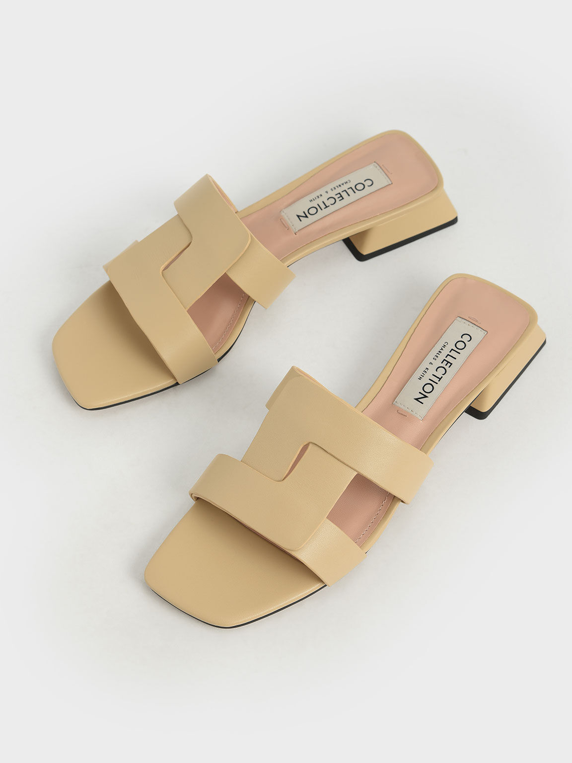 Leather Cut Out Mules, Beige, hi-res