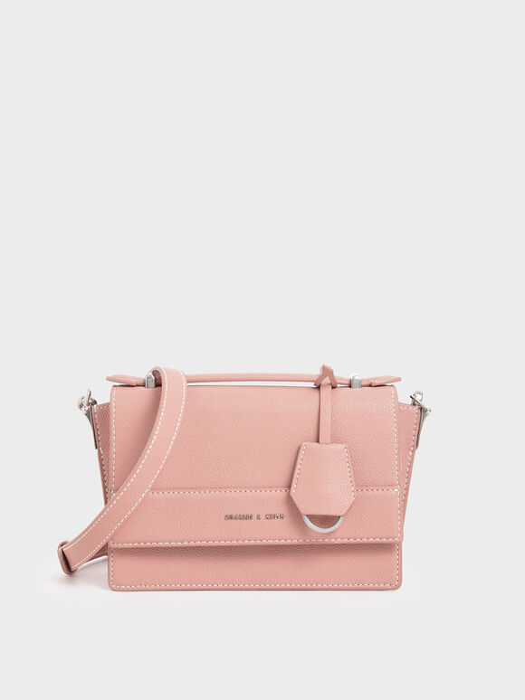 Front Flap Top Handle Bag, Pink, hi-res