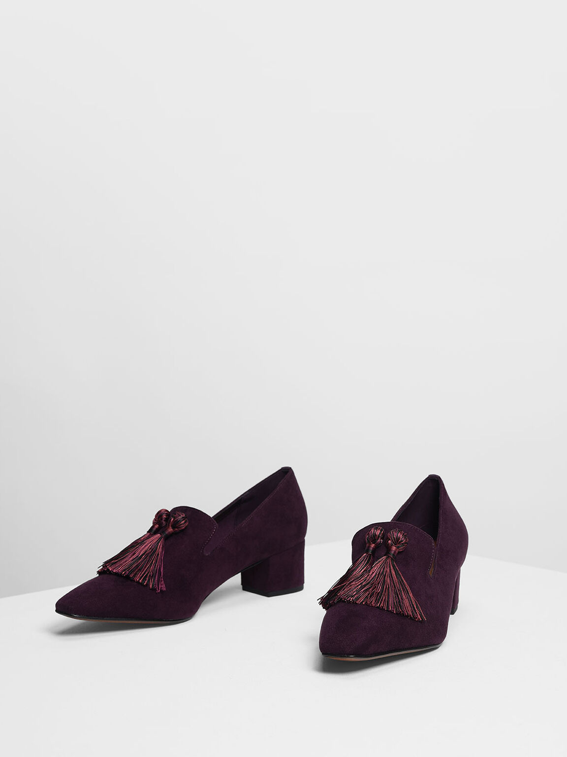 Tassel Detail Heeled Loafers, Purple, hi-res