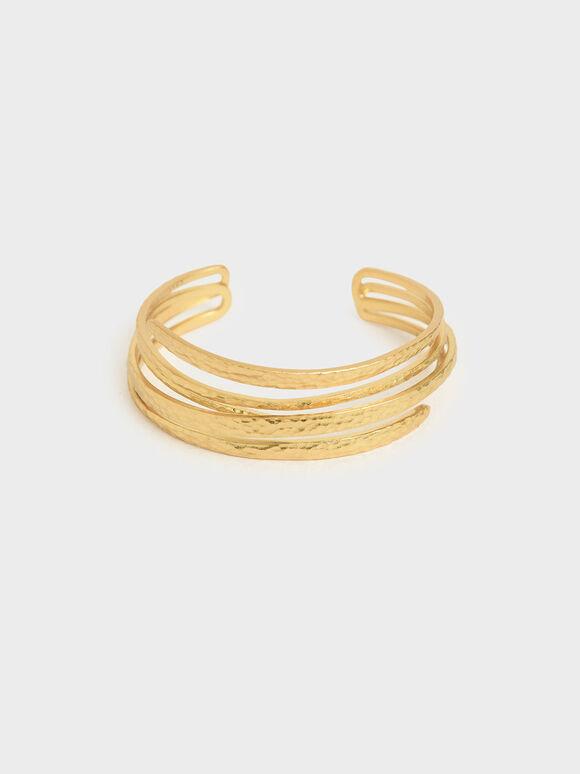 Hammered Cuff Bracelet, Brush Gold, hi-res