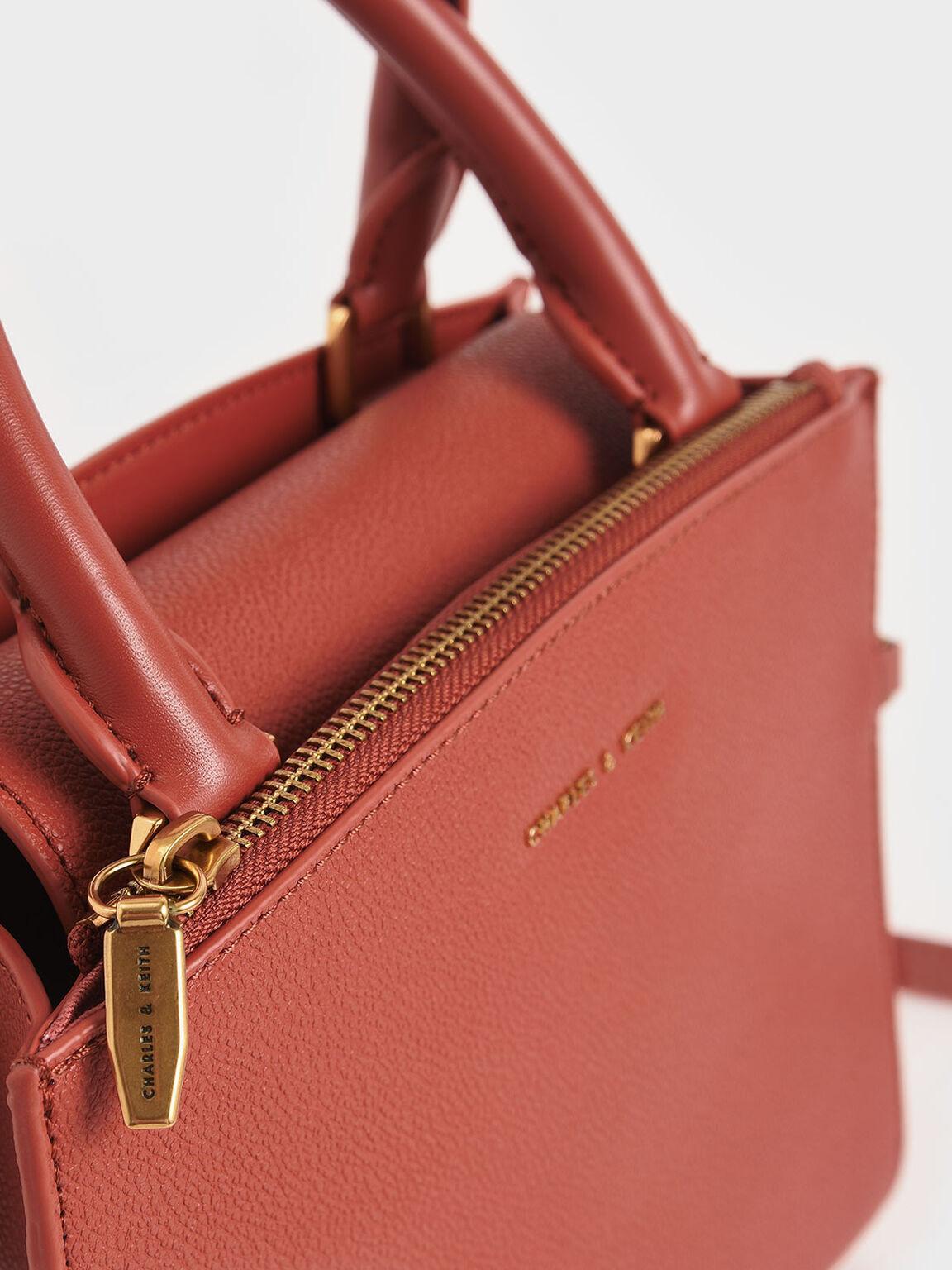 Chain-Link Top Handle Bag, Clay, hi-res