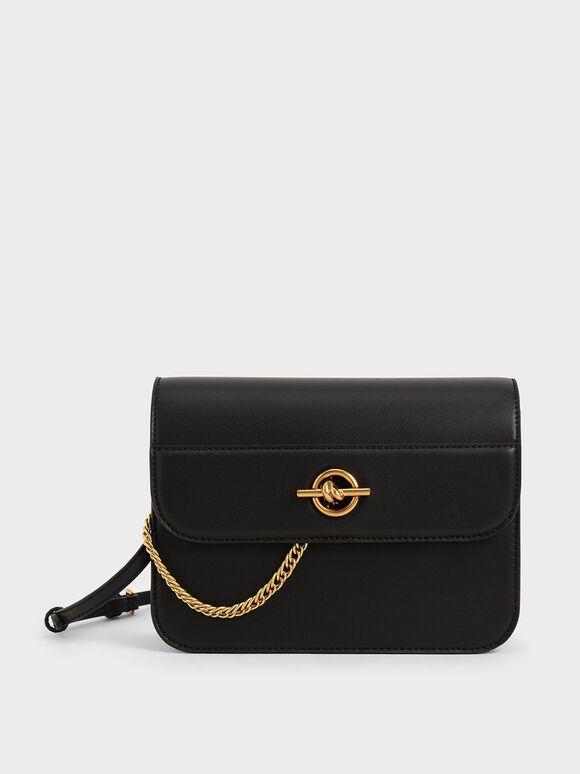 Metallic Accent Chain Handle Bag, Black, hi-res