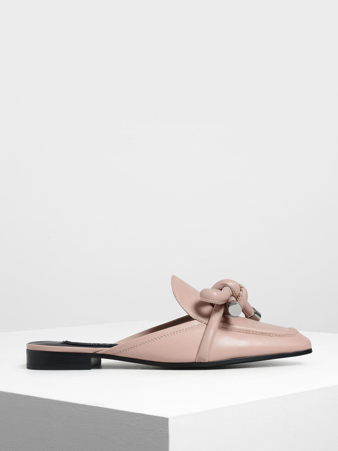 Leather Bow Mules, Nude, hi-res