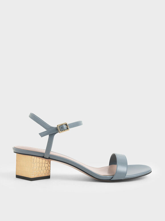Sculptural Chrome Heel Sandals, Blue, hi-res