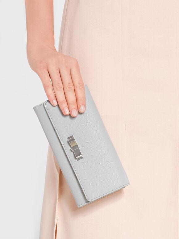 Metal Bow Wallet, Light Grey, hi-res