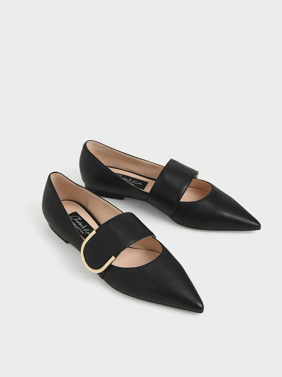 Leather Mary Jane Flats, Black, hi-res