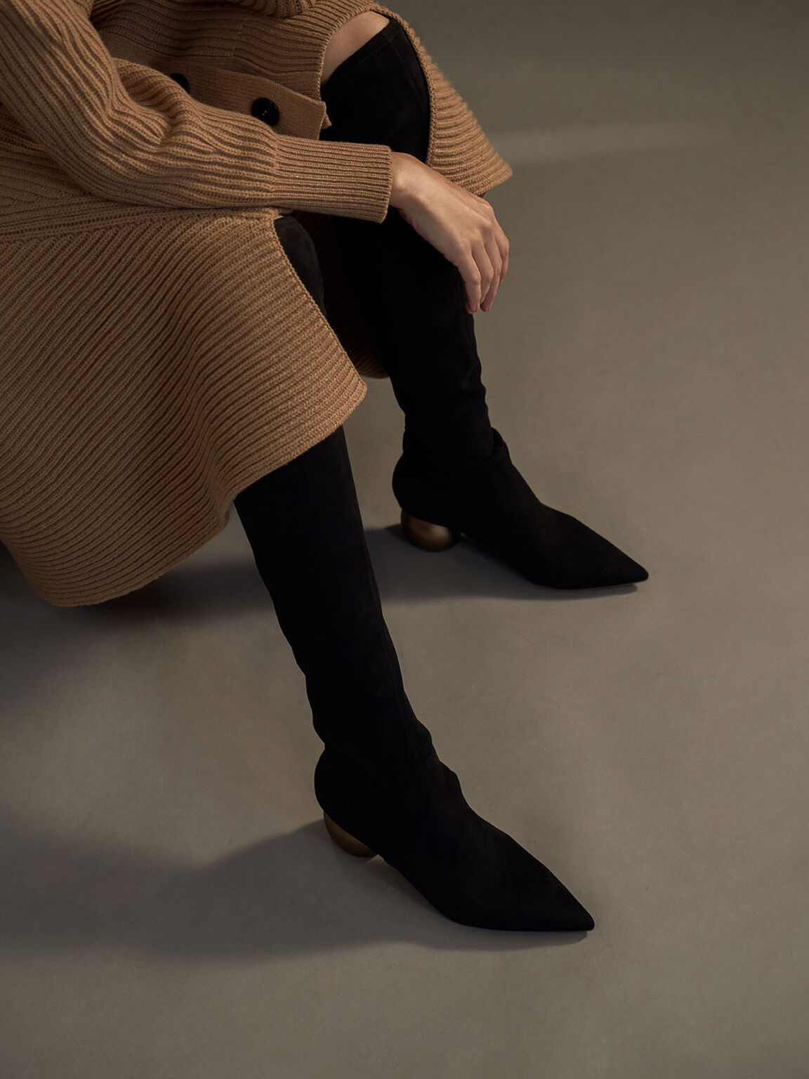Textured Thigh High Boots, Black, hi-res