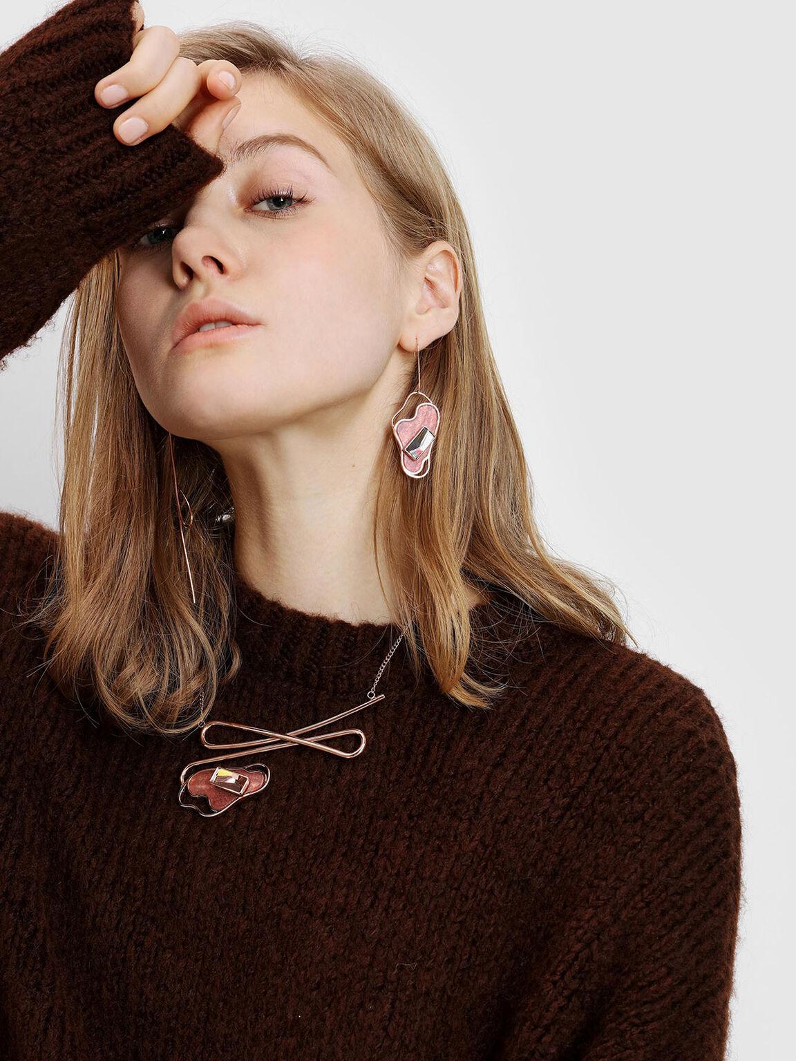 Semi-Precious Stone Necklace, Rose Gold, hi-res