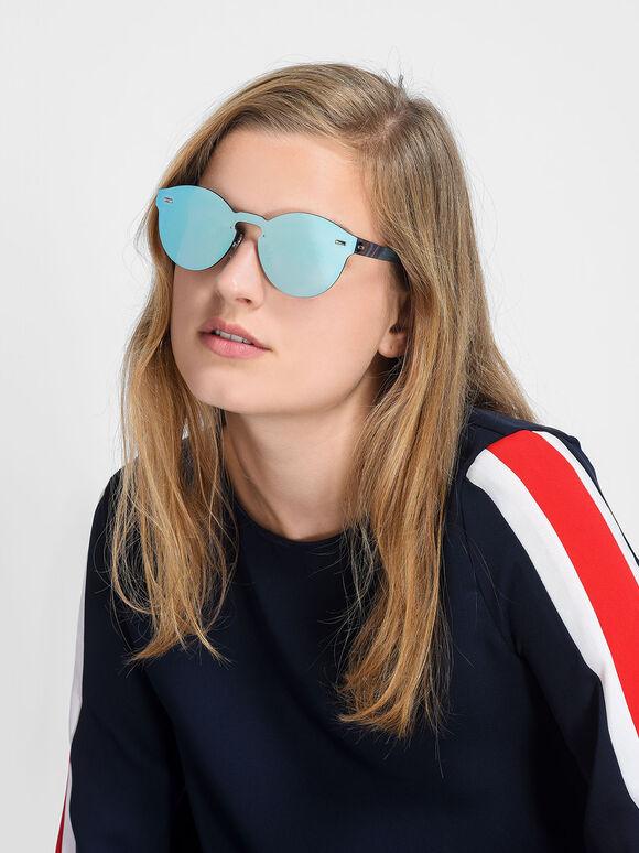 Oval Sunglasses, Blue, hi-res