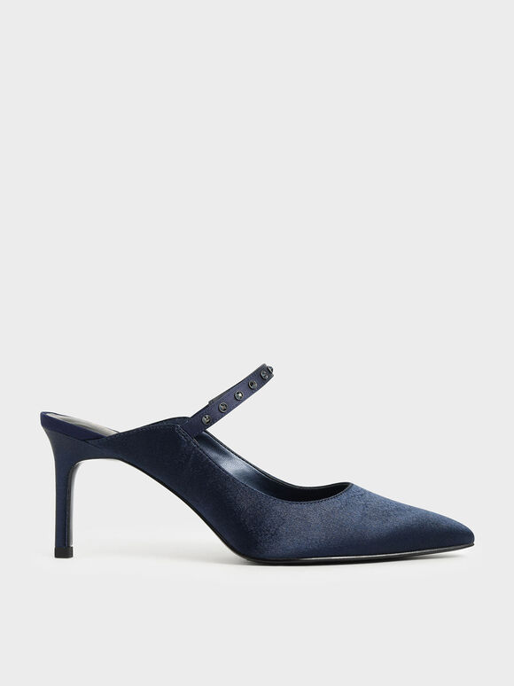 Satin Embellished Strap Mules, Dark Blue, hi-res