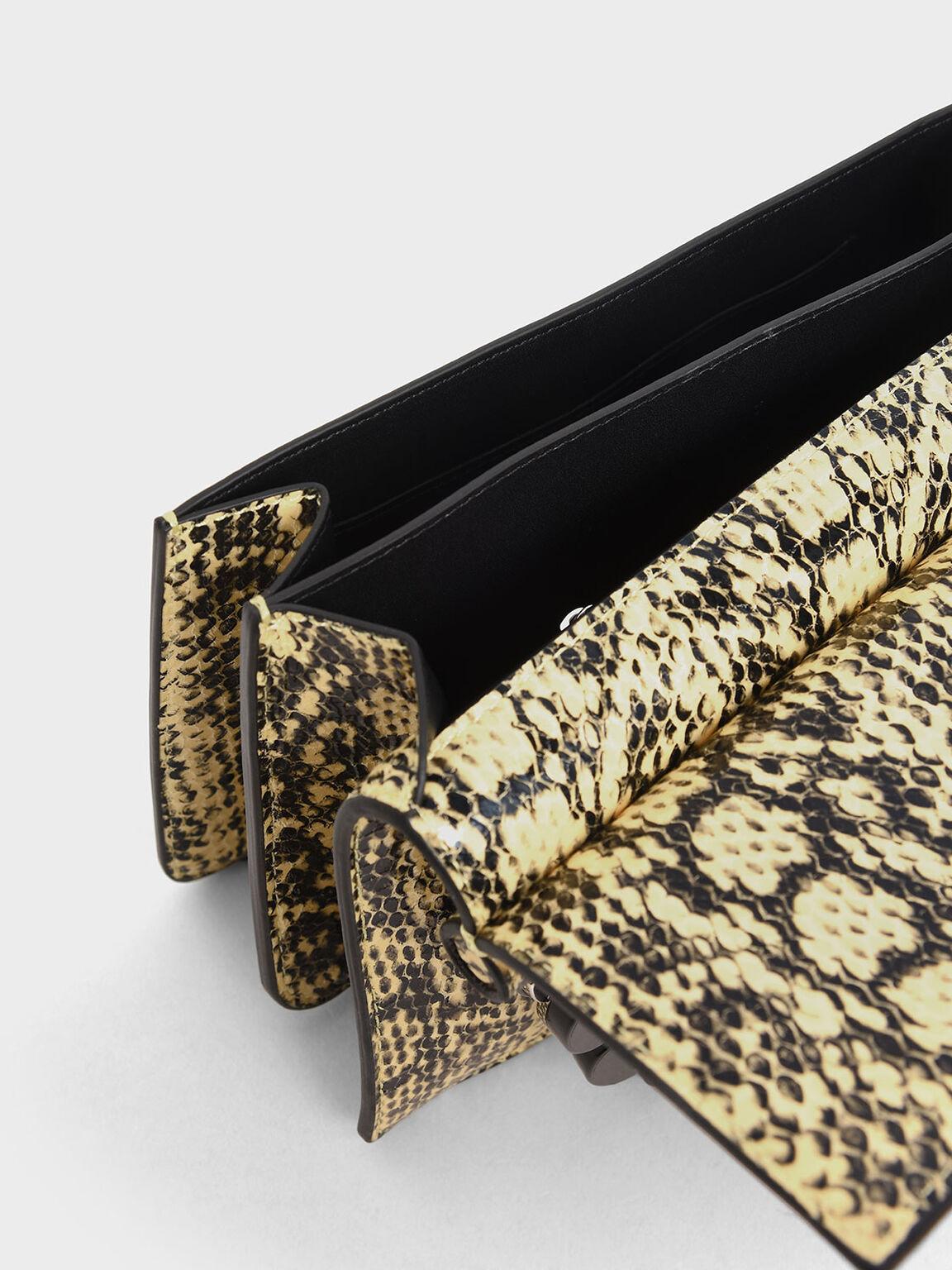 Snake Print Acrylic Tortoiseshell Top Handle Bag, Yellow, hi-res