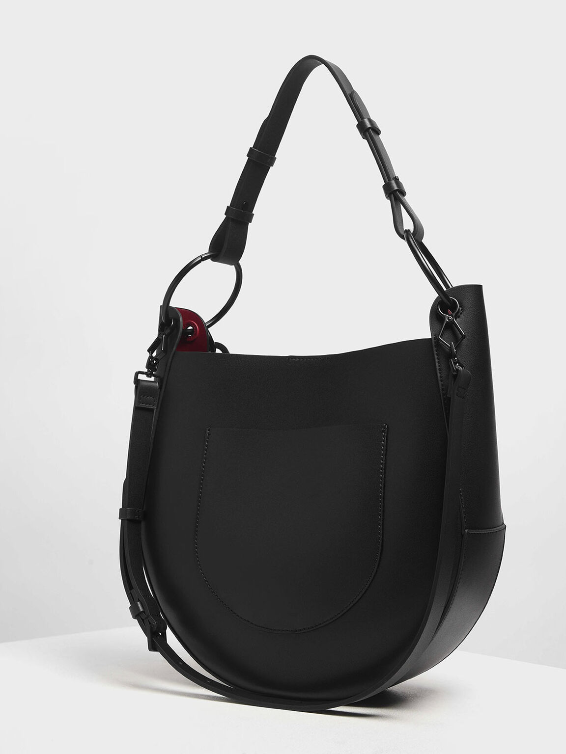 Chunky Chain Link Large Hobo Bag, Black, hi-res