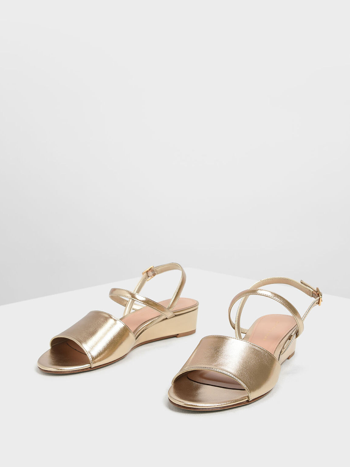 Low Wedge Ankle Strap Sandals, Gold, hi-res