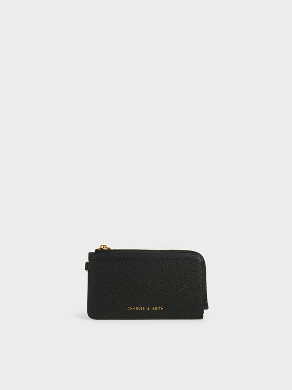 Top Zip Card Holder, Black, hi-res