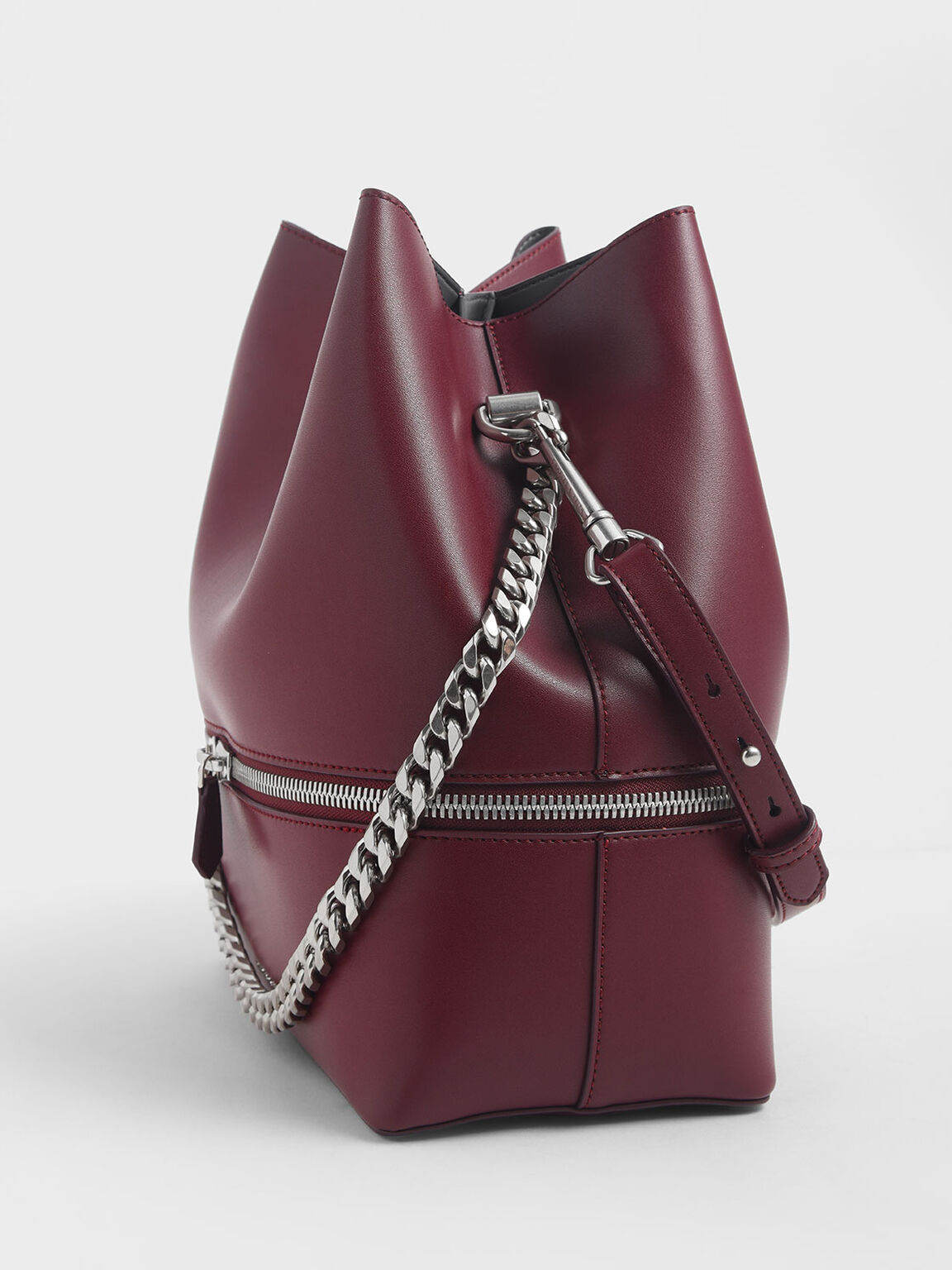 Two-Way Zip Hobo Bag, Burgundy, hi-res