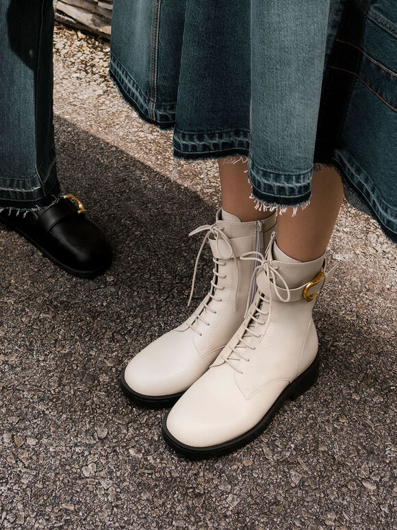 Gabine Buckled Leather Ankle Boots, Chalk, hi-res
