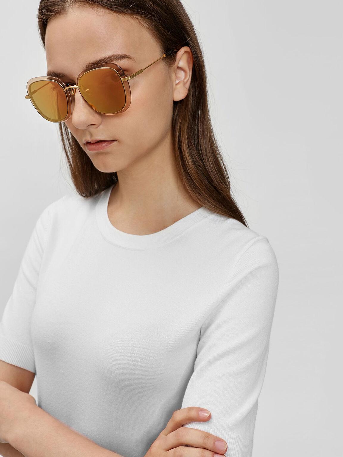 Double Lens Sunglasses, Gold, hi-res