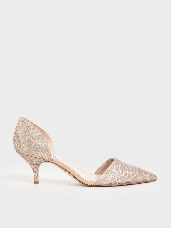 D'Orsay Glitter Fabric Kitten Heel Pumps, Gold, hi-res