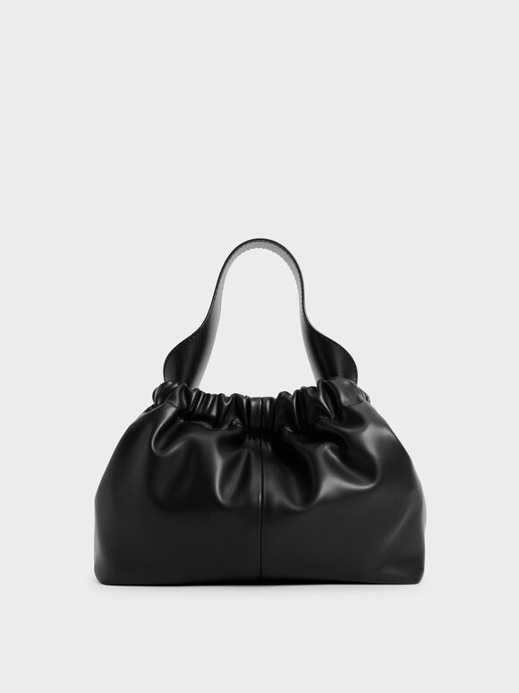 Pleated Hobo Bag, Black, hi-res